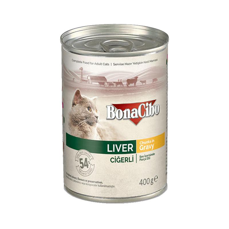 کنسرو غذای گربه بوناسیبو مدل Liver Chunk in Gravy وزن 400 گرم