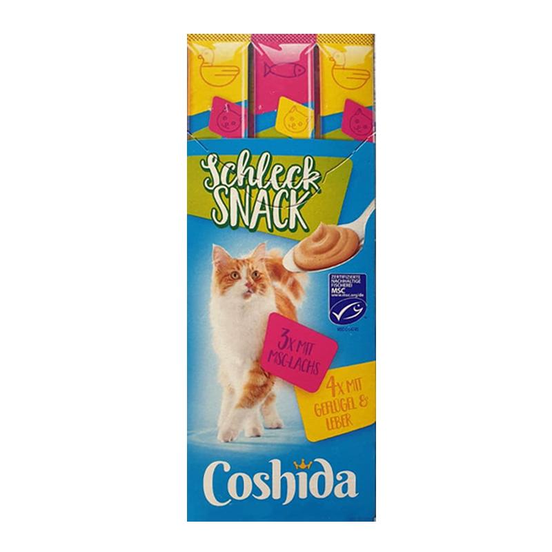 عکس بسته بندی کلی بستنی گربه کوشیدا مدل Salmon & Poultry & Liver بسته 7 عددی