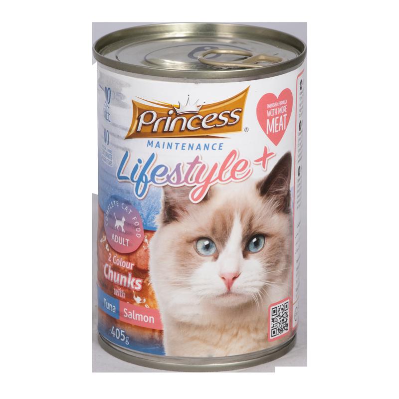 عکس تبلیغاتی بسته بندی کنسرو غذای گربه پرینسس مدل LifeStyle+ Tuna & Salmon وزن ۴۰۵ گرم