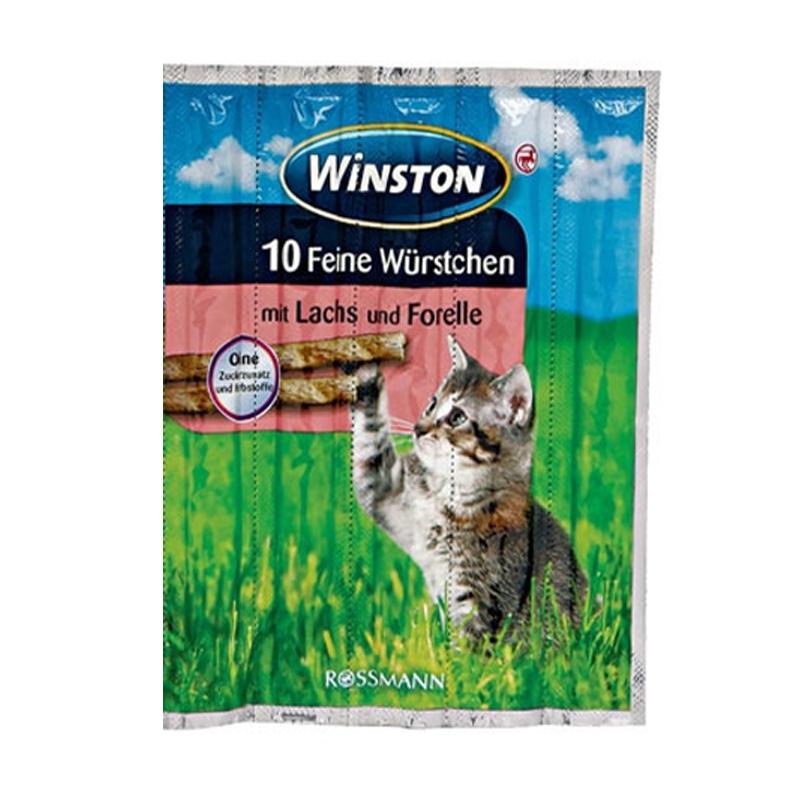 عکس بسته بندی اسنک تشویقی گربه وینستون مدل Salmon & Trout بسته 5 عددی
