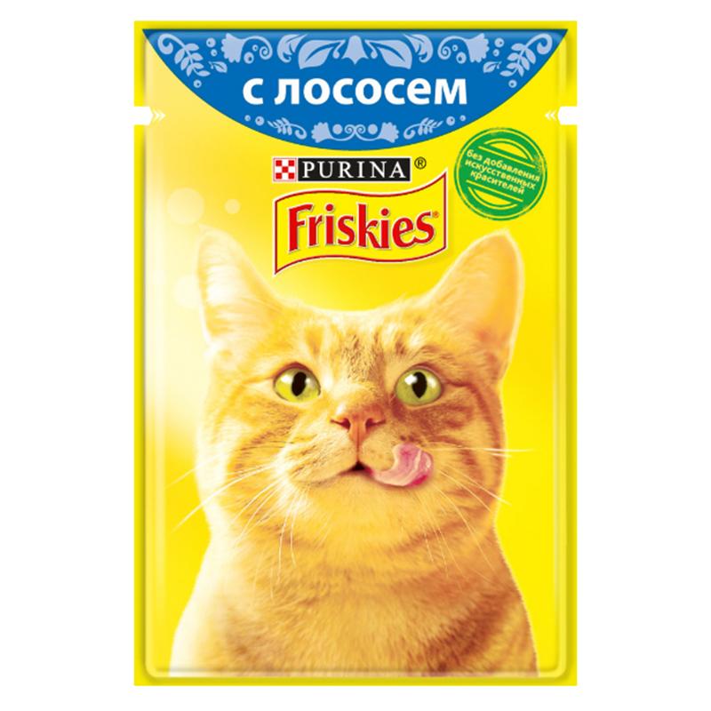 عکس بسته بندی پوچ گربه فریسکیز مدل Salmon وزن 85 گرم