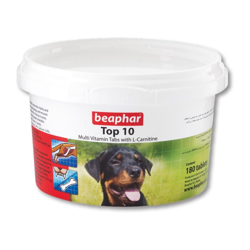 عکس بسته بندی قرص مولتی ویتامین سگ بیفار مدل Top 10 تعداد 180 عددی