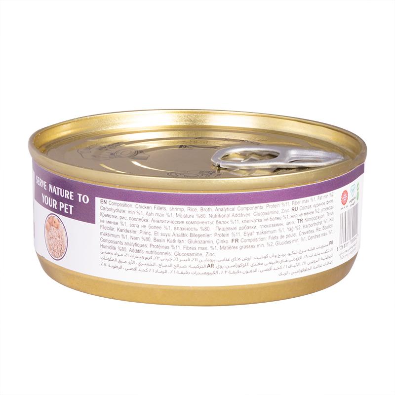 عکس پشت کنسرو غذای گربه شایر مدل Chicken & Shrimp وزن 110 گرم