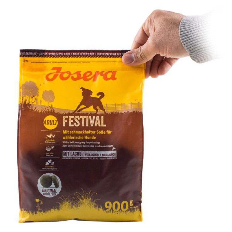 عکس تبلیغاتی بسته بندی غذای خشک سگ جوسرا مدل ADULT FESTIVAL وزن 900 گرم