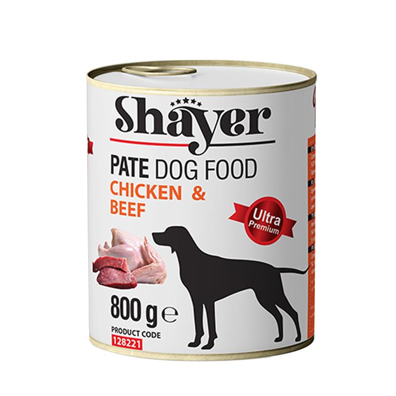 عکس بسته بندی کنسرو غذای سگ شایر مدل Chicken & Beef وزن 800 گرم