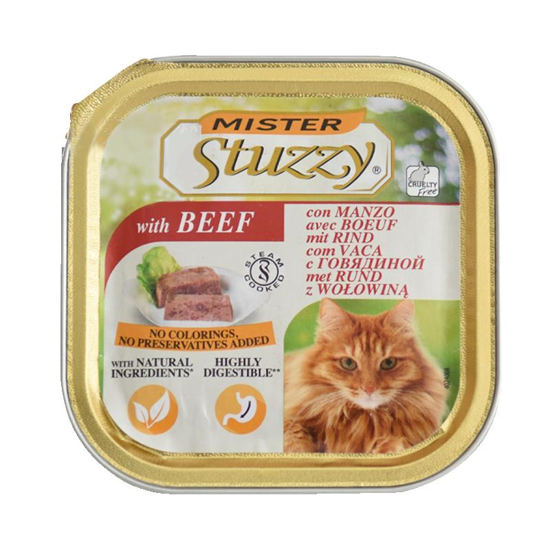 عکس بسته بندی غذای کاسهای گربه استوزی مدل Mister Beef وزن 100 گرم