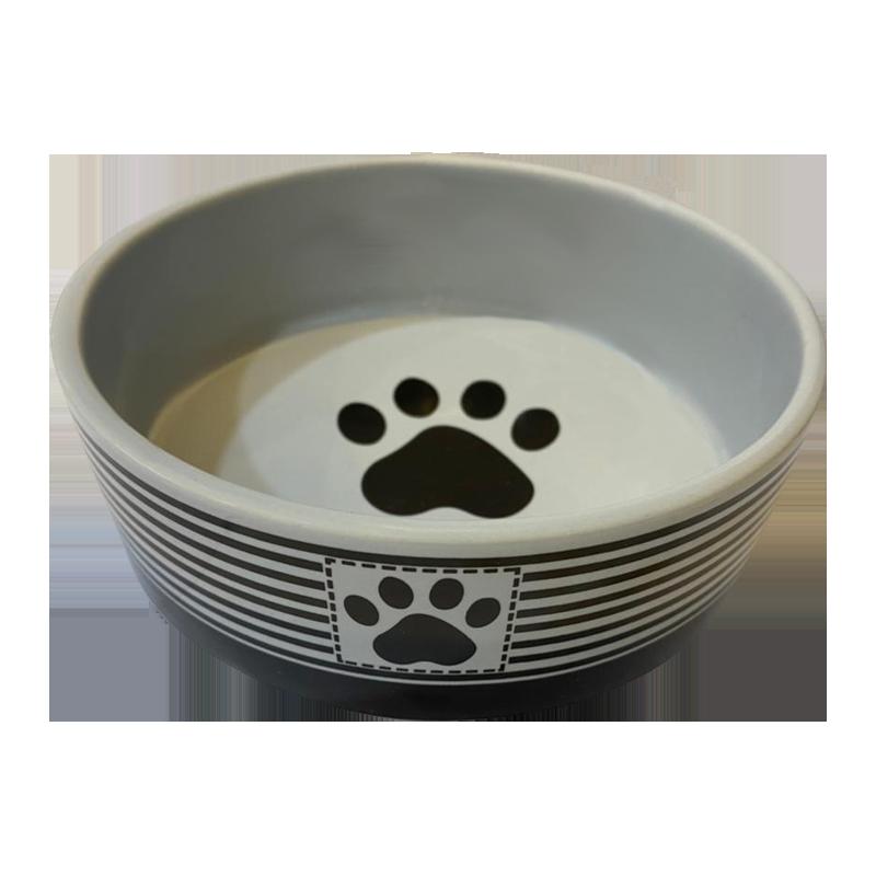 عکس از پهلو ظرف آب و غذای حیوانات کوکو پت طرح راهراه سایز کوچک