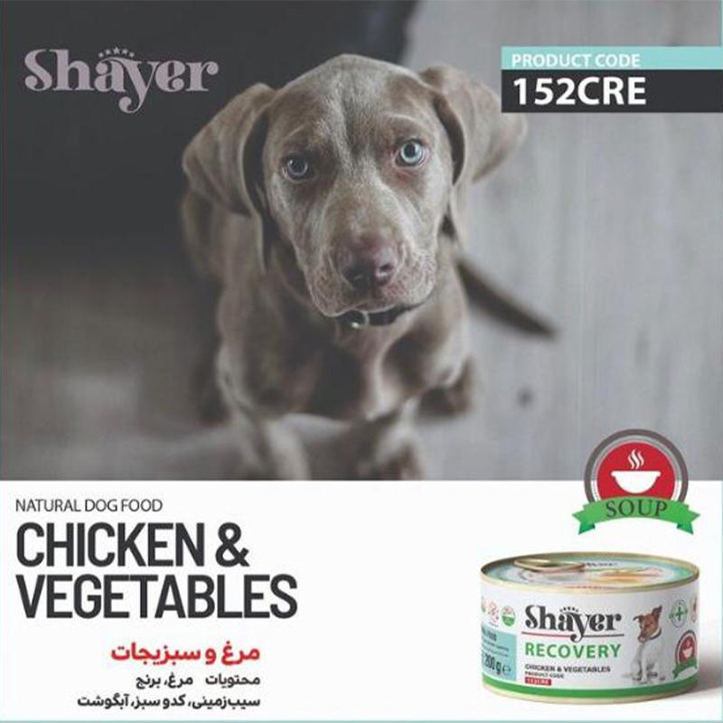 عکس تبلیغاتی کنسرو ریکاوری سگ شایر مدل Chicken & Vegetable وزن ۲۰۰ گرم