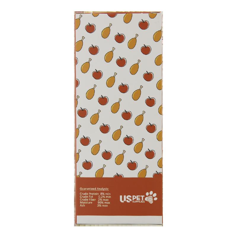 عکس پشت بسته بندی بستنی گربه یو اس پت مدل Chicken & Apple بسته 10 عددی