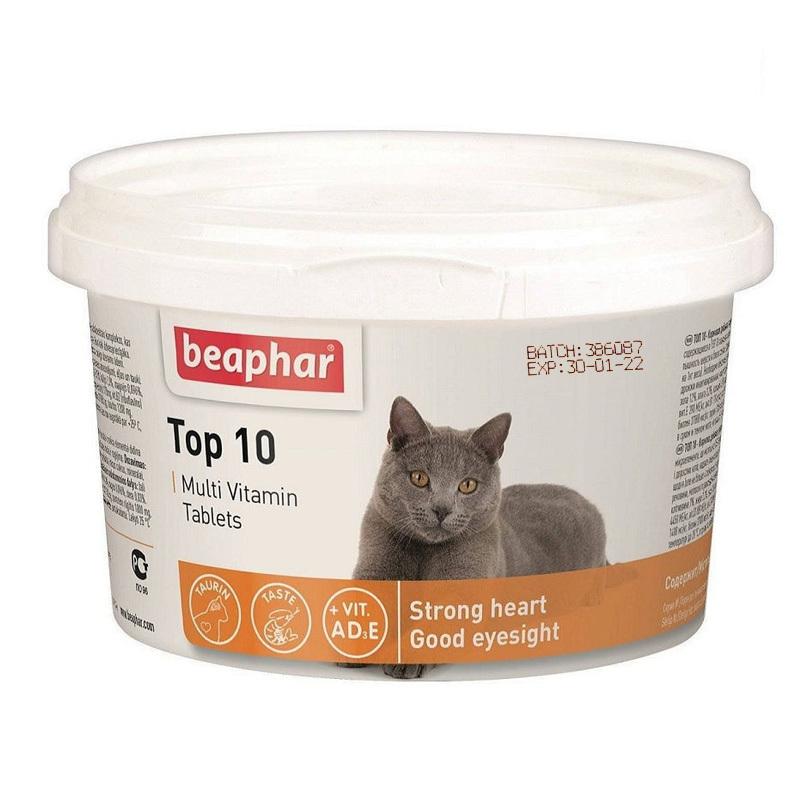 عکس بسته بندی دوم قرص مولتی ویتامین گربه بیفار مدل Top 10 بسته 10 عددی