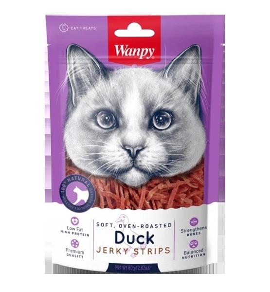 عکس تشویقی گربه ونپی مدل Duck Jerky Strips وزن 80 گرم