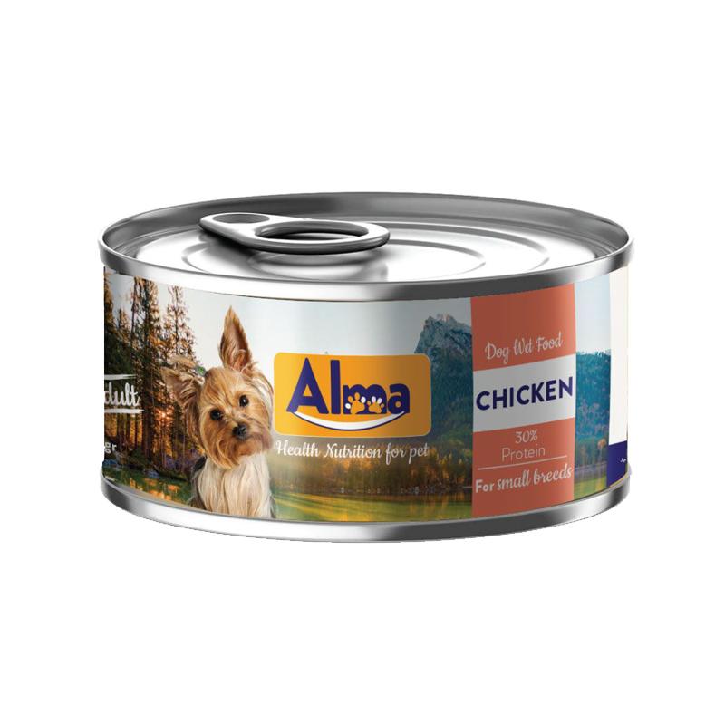 عکس بسته بندی کنسرو غذای سگ آلما مدل Chicken وزن 120 گرم