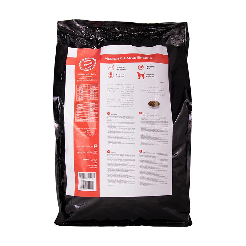 عکس پشت بسته بندی غذای خشک پرمیوم سگ پتچی مدل Adult Medium & Large وزن 3.7 کیلوگرم