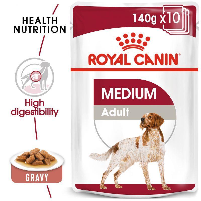 عکس جزییات پوچ سگ رویال کنین مدل Medium Adult وزن 140 گرم