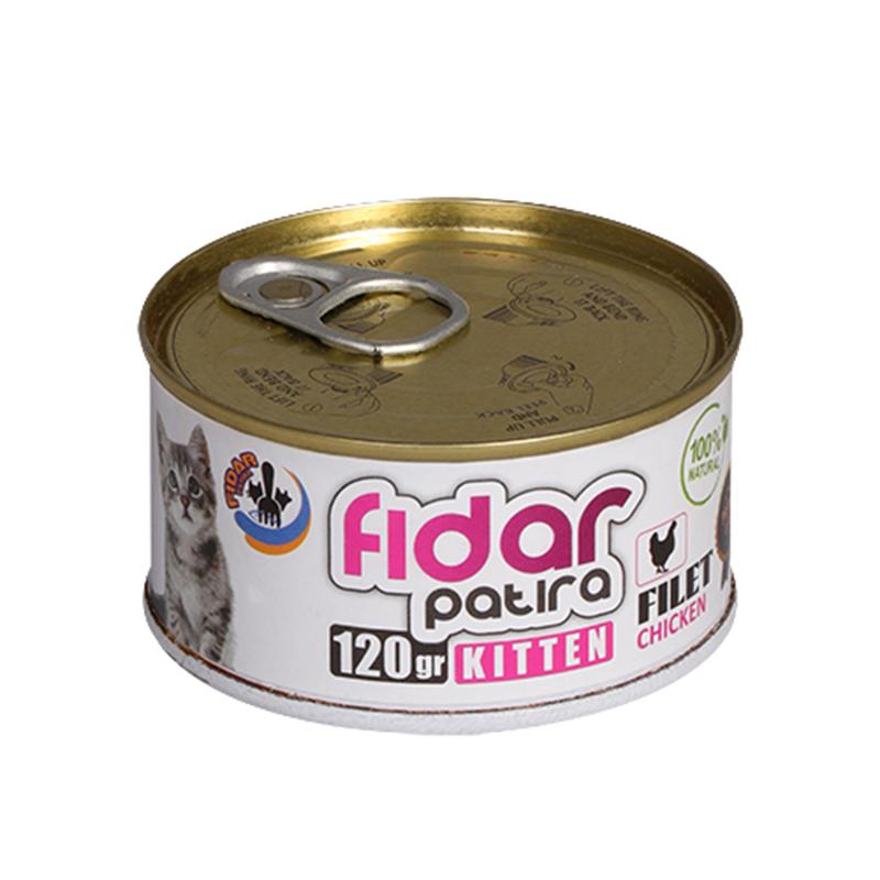 عکس کامل کنسرو غذای بچه گربه فیدار مدل Kitten Chicken Filet وزن 120 گرم
