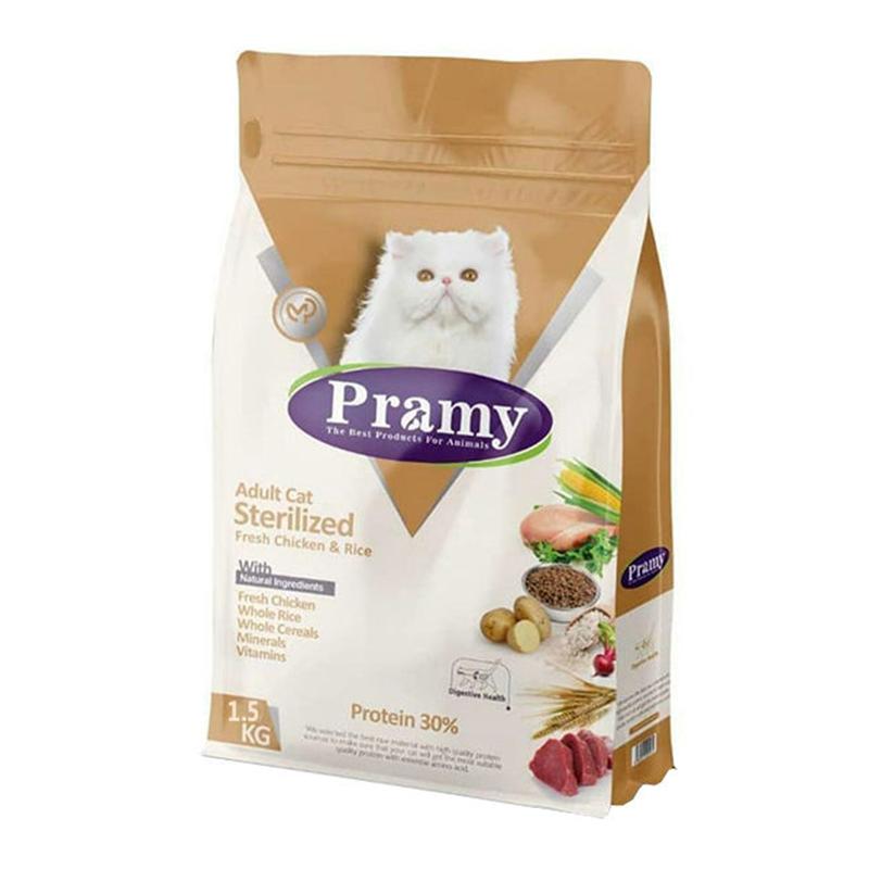 عکس بسته بندی غذای خشک گربه پرامی مدل Sterilized وزن 1.5 کیلوگرم