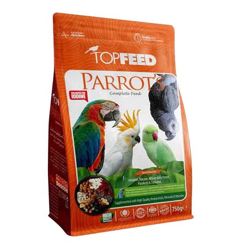 عکس بسته بندی خوراک آجیلی طوطی سانان تاپ فید مدل Parrots Complete Food وزن 750 گرم