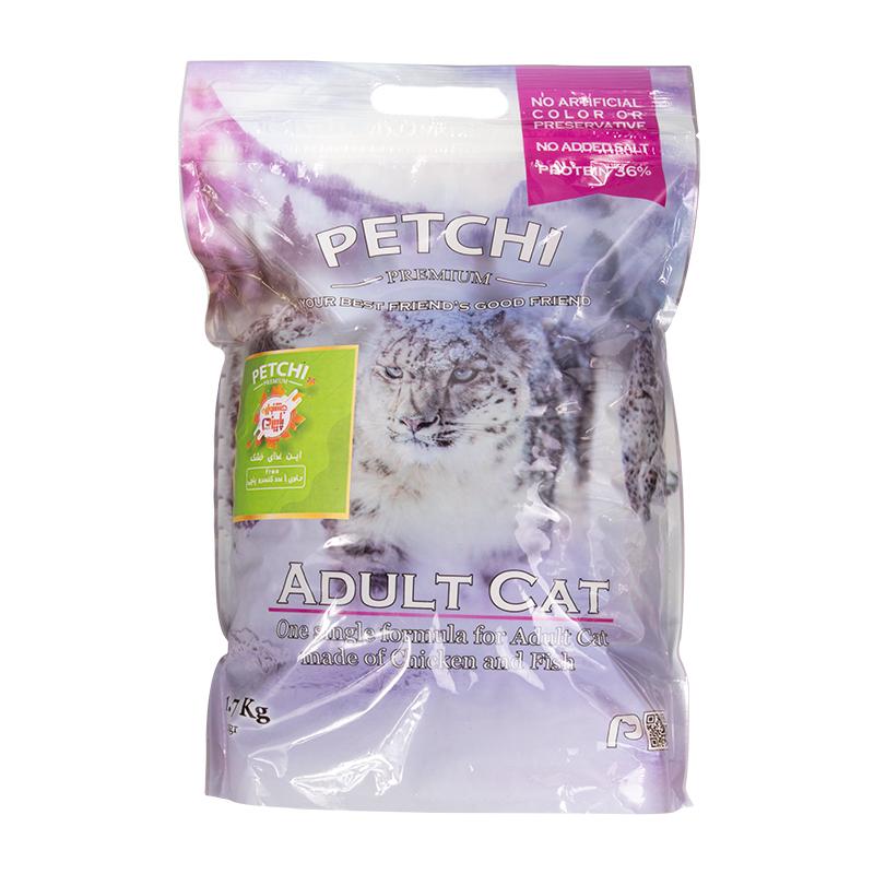 عکس بسته بندی غذای خشک پرمیوم گربه پتچی مدل Adult Chicken & Fish وزن 1.7 کیلوگرم