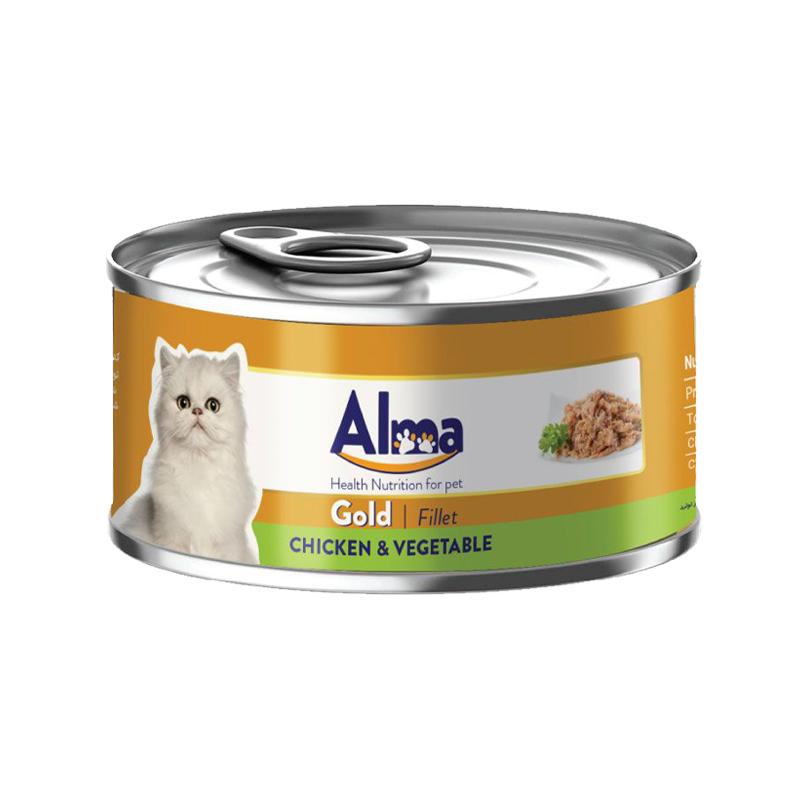 عکس بسته بندی کنسرو غذای گربه آلما مدل Gold Chicken & Vegetable وزن 120 گرم