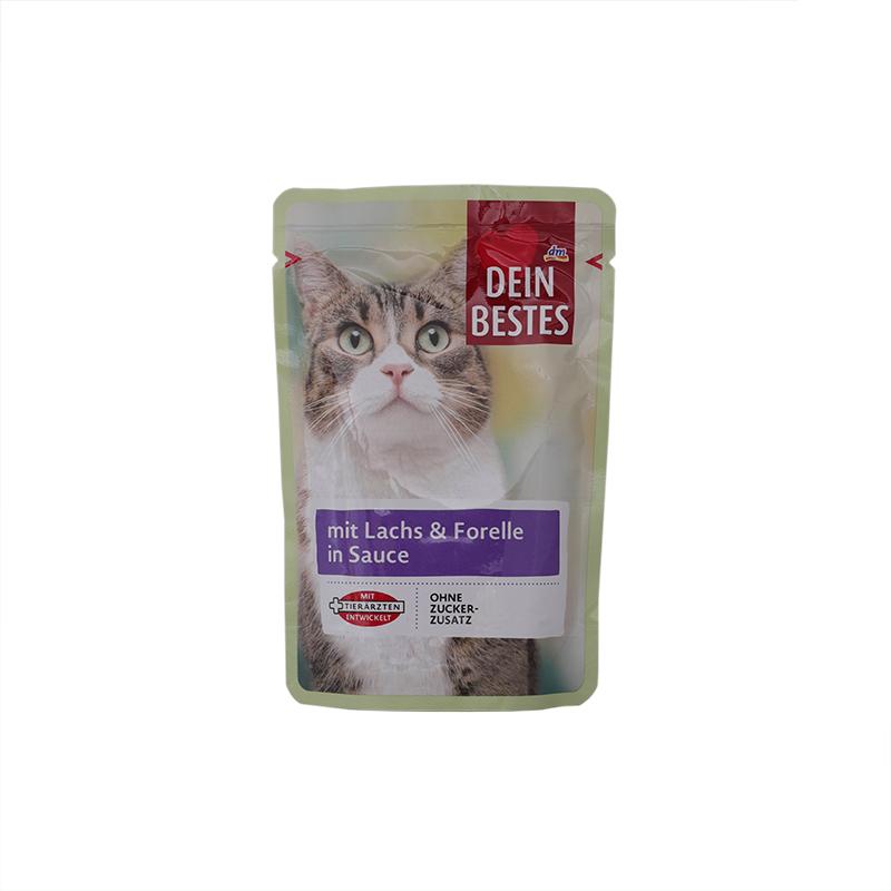 عکس بسته بندی پوچ گربه دین بستس مدل Salmon & Trout وزن 100 گرم