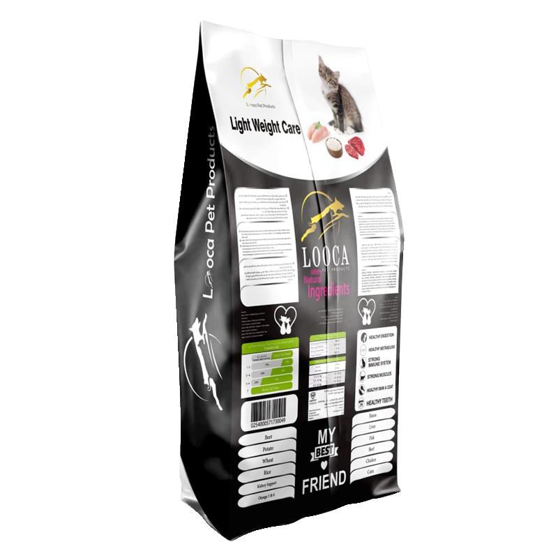 عکس پشت بسته بندی غذای خشک گربه لوکا مدل Light Weight Care وزن 2 کیلوگرم