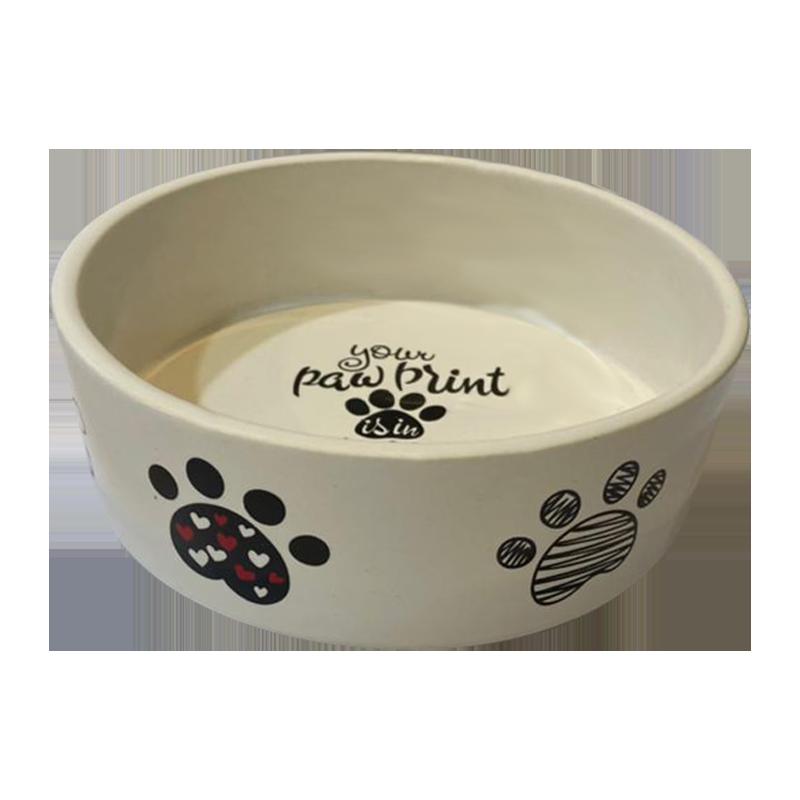 عکس از پهلو ظرف آب و غذای حیوانات کوکو پت طرح پنجه سایز متوسط سفید