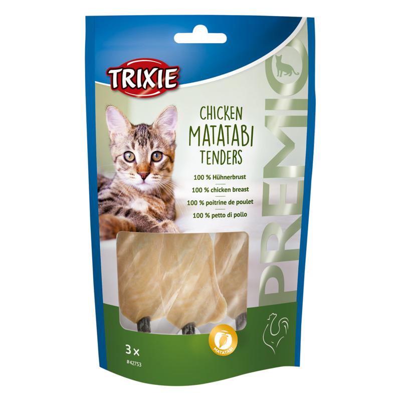 عکس بسته بندی تشویقی گربه تریکسی مدل Chicken Matatabi Tenders با طعم مرغ بسته 3 عددی