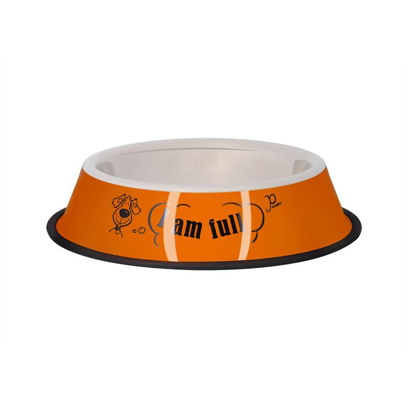عکس ظرف غذای حیوانات قطر 21 سانتی متر رنگ نارنجی