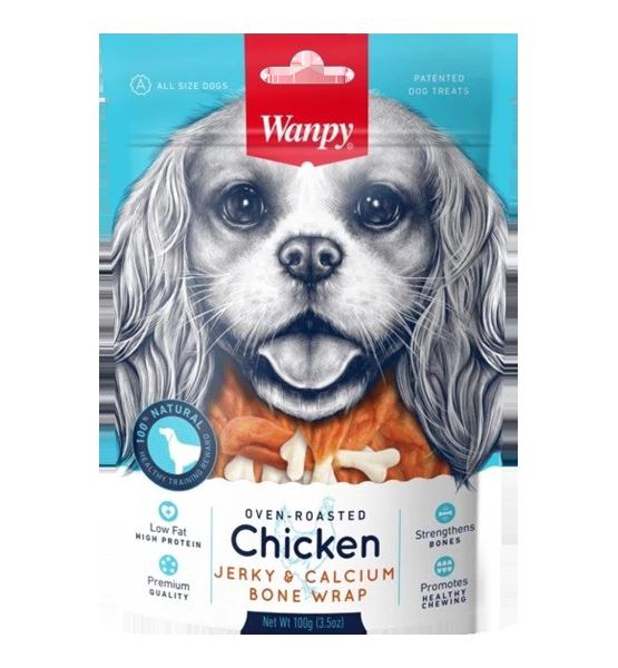 عکس بسته بندی تشویقی سگ ونپی مدل Chicken Jerky & Calcium Bone Twists وزن 100 گرم