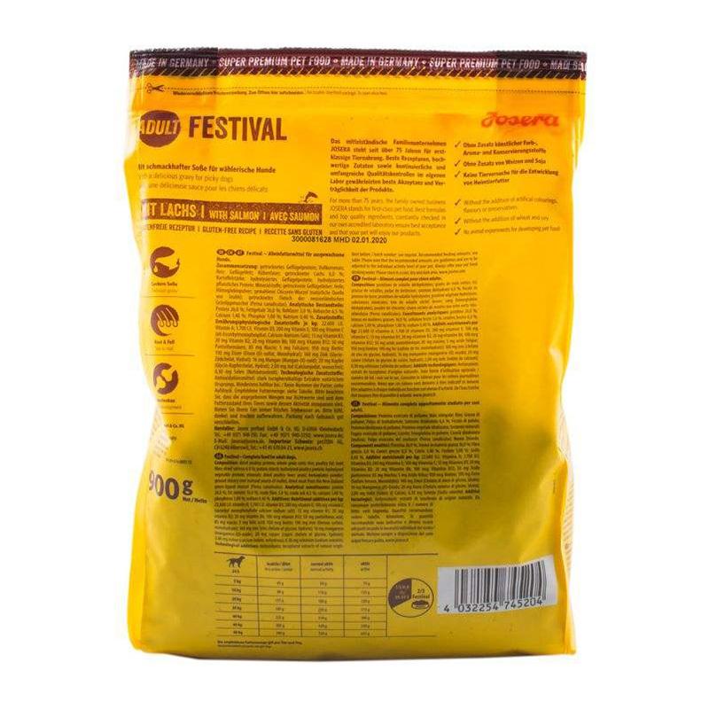 عکس پشت بسته بندی غذای خشک سگ جوسرا مدل ADULT FESTIVAL وزن 900 گرم