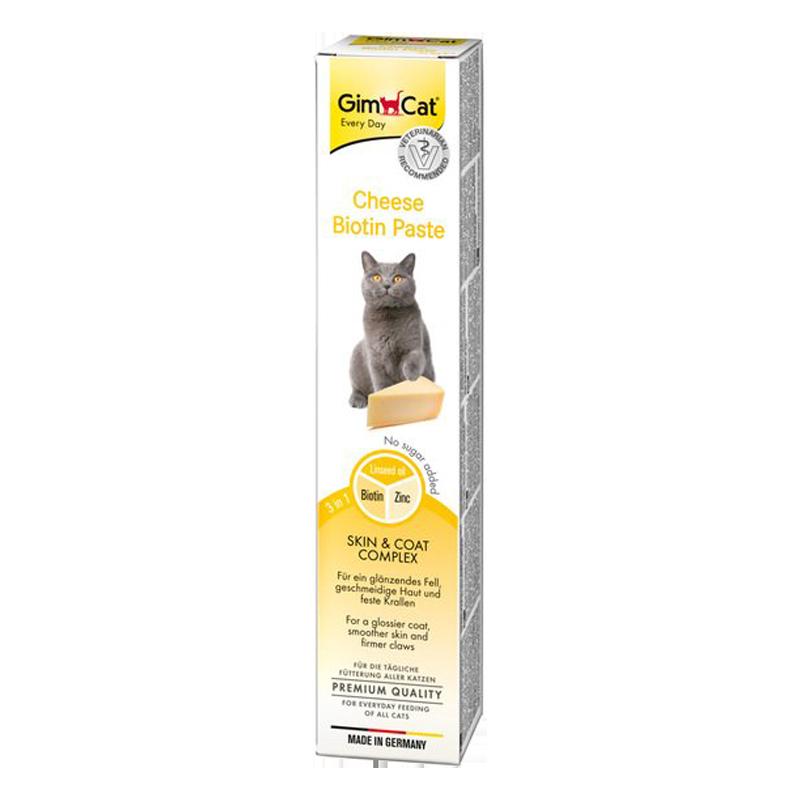 خمیر مالت گربه بیوتین جیم کت با طعم پنیر GimCat Cheese Biotin Paste وزن 50 گرم بسته بندی