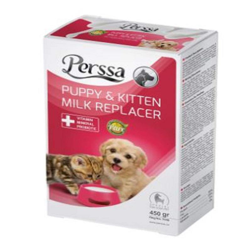 عکس بسته بندی شیر خشک سگ و گربه پرسا مدل Milk Replacer وزن 450 گرم