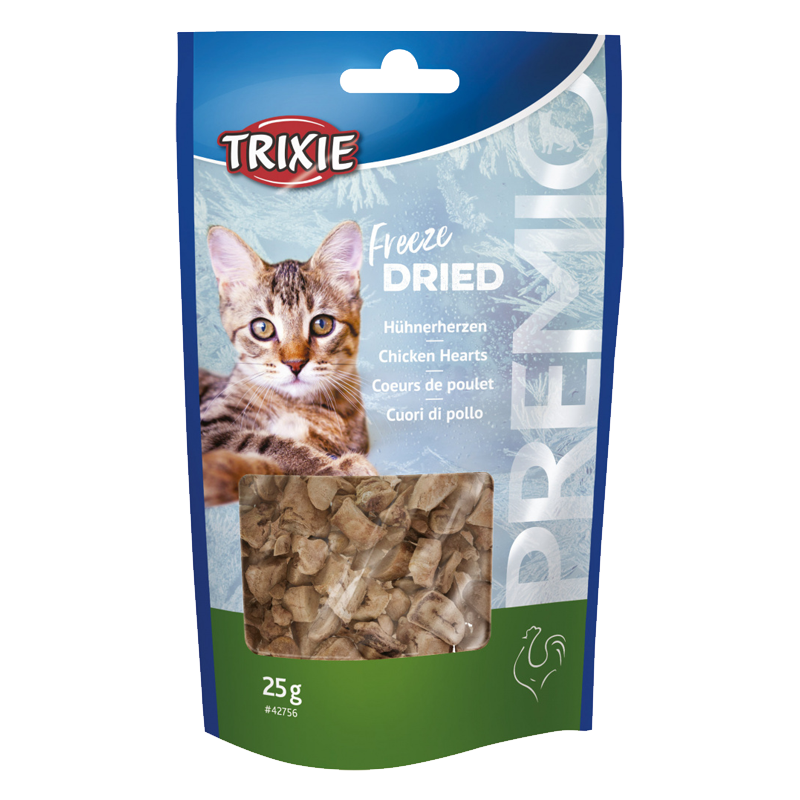 عکس بسته بندی تشویقی گربه تریکسی مدل Freeze Dried با طعم دل مرغ وزن 25 گرم