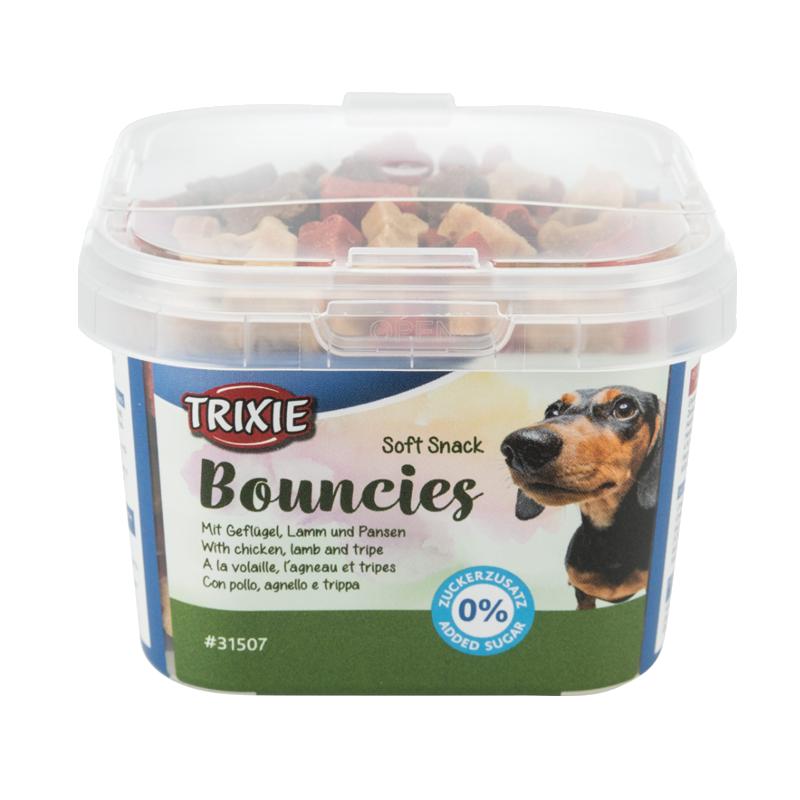 عکس بسته بندی تشویقی سگ تریکسی مدل Bouncies با طعم بره و سیرابی وزن 140 گرم