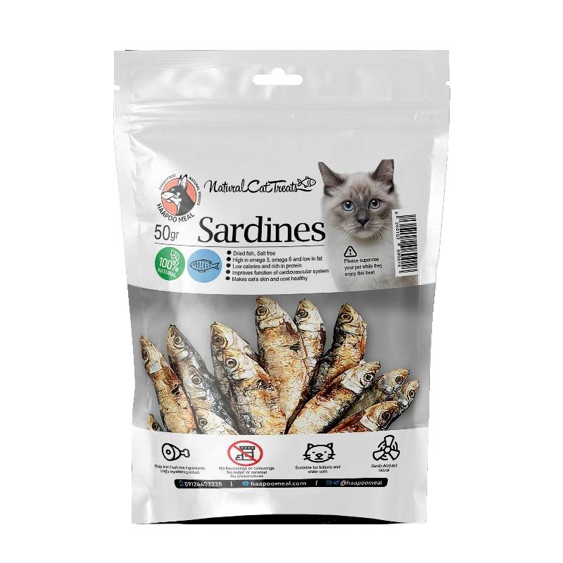 عکس بسه بندی تشویقی گربه هاپومیل مدل Sardines وزن 30 گرم