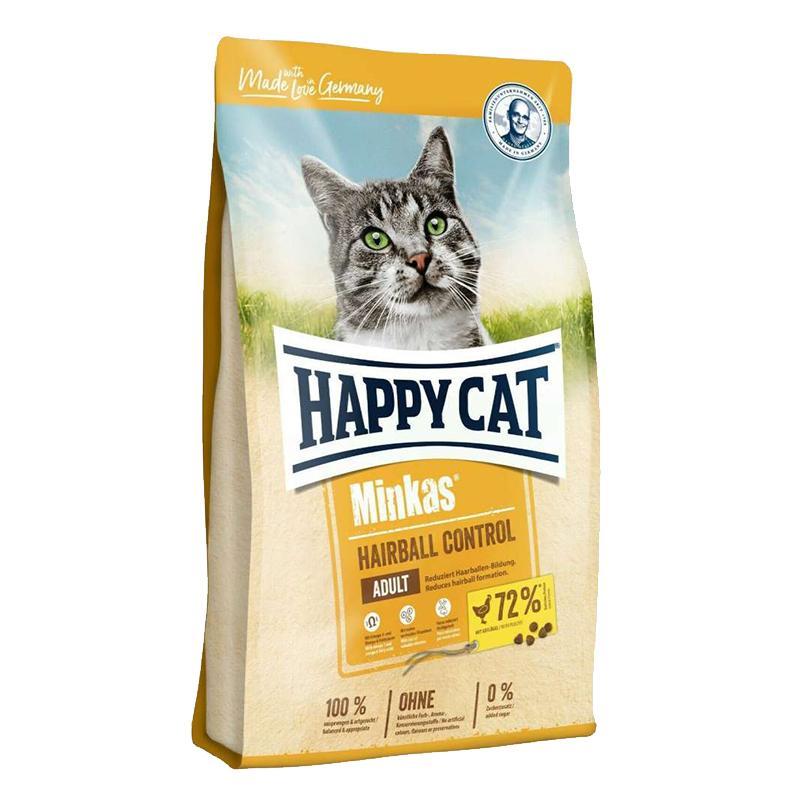 عکس بسته بندی غذای خشک گربه هپی کت مدل Minkas HairBall Control وزن 10 کیلوگرم