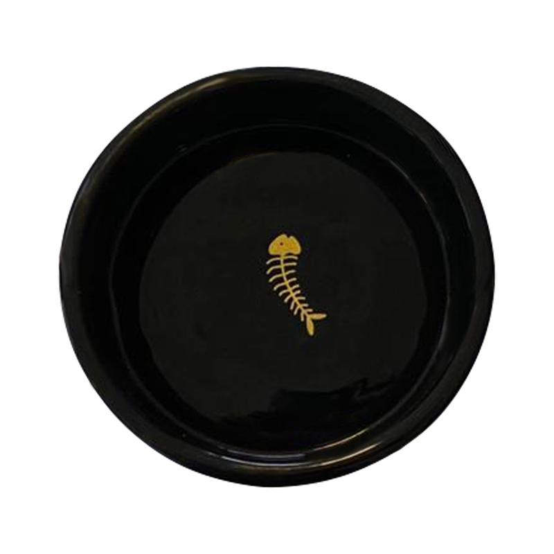 عکس از بالا ظرف غذای حیوانات کوکو پت مشکی طرح ماهی