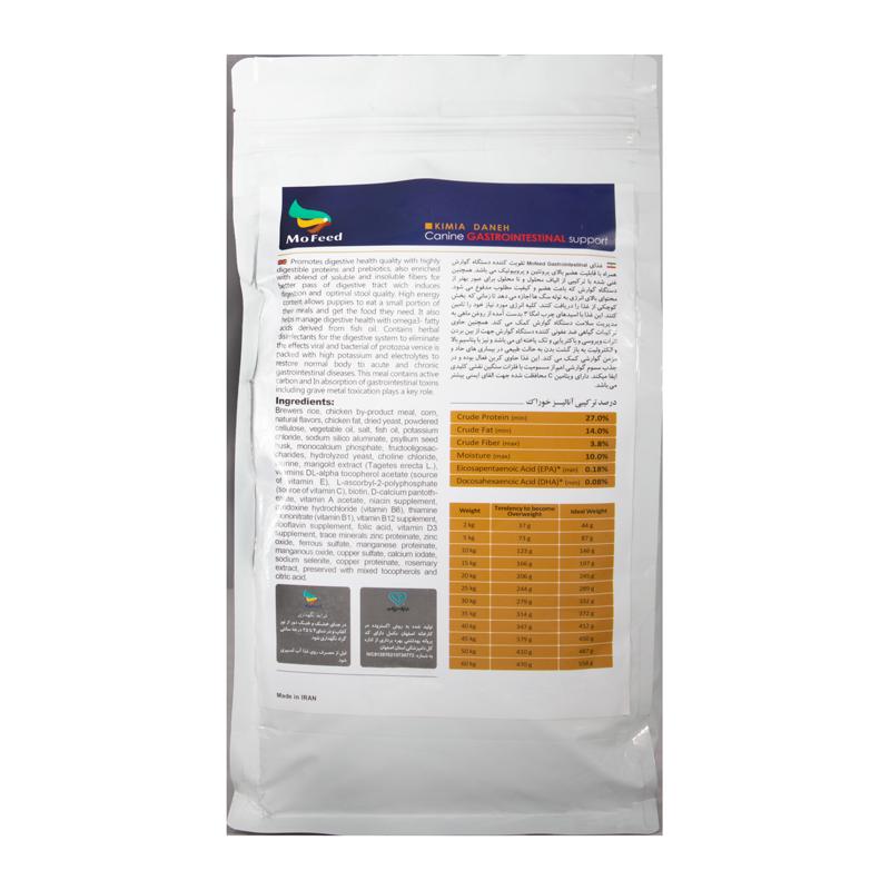 عکس پشت بسته بندی غذای خشک سگ مفید مدل gastro intestinal وزن 2 کیلوگرم