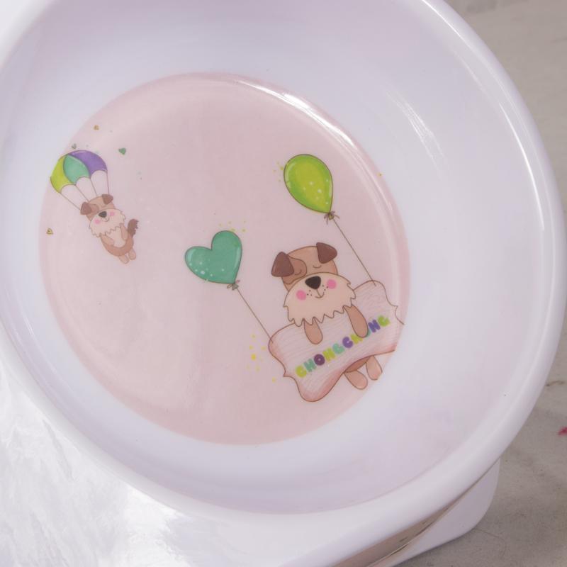 ظرف غذای دوقلو حیوانات مدل ملامین طرح دار رنگ گلبهی 3