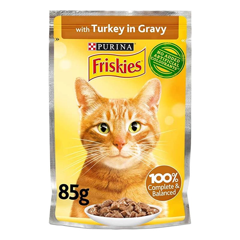 عکس روی بسته بندی پوچ گربه فریسکیز مدل Turkey in Gravy وزن 85 گرم