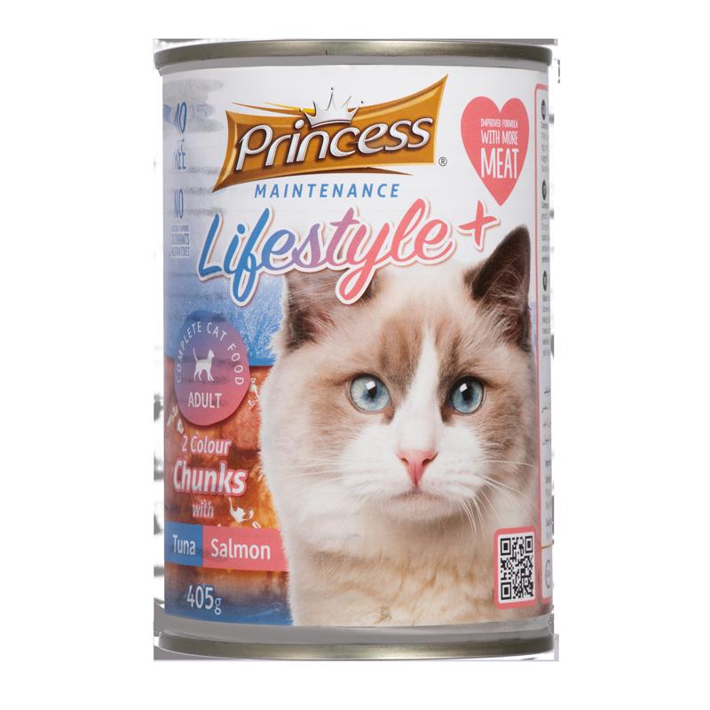 عکس بسته بندی تبلیغاتی کنسرو غذای گربه پرینسس مدل LifeStyle+ Tuna & Salmon وزن ۴۰۵ گرم