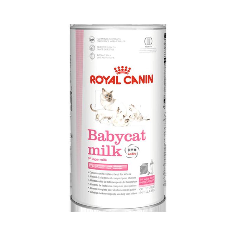 عکس بسته بندی شیر خشک گربه رویال کنین مدل BabyCat وزن ۳۰۰ گرم + شیشه شیر
