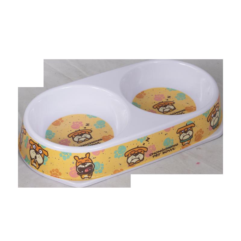 ظرف غذای دوقلو حیوانات مدل ملامین طرح دار رنگ زرد 1