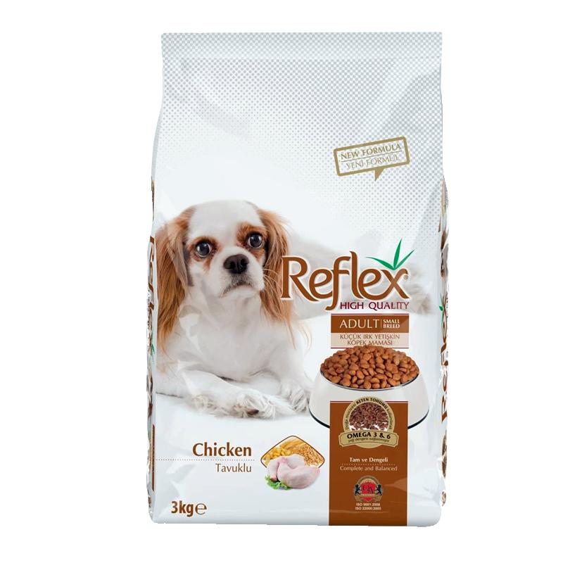 عکس روی بسته بندی غذای خشک سگ رفلکس مدل Adult Chicken وزن 3 کیلوگرم