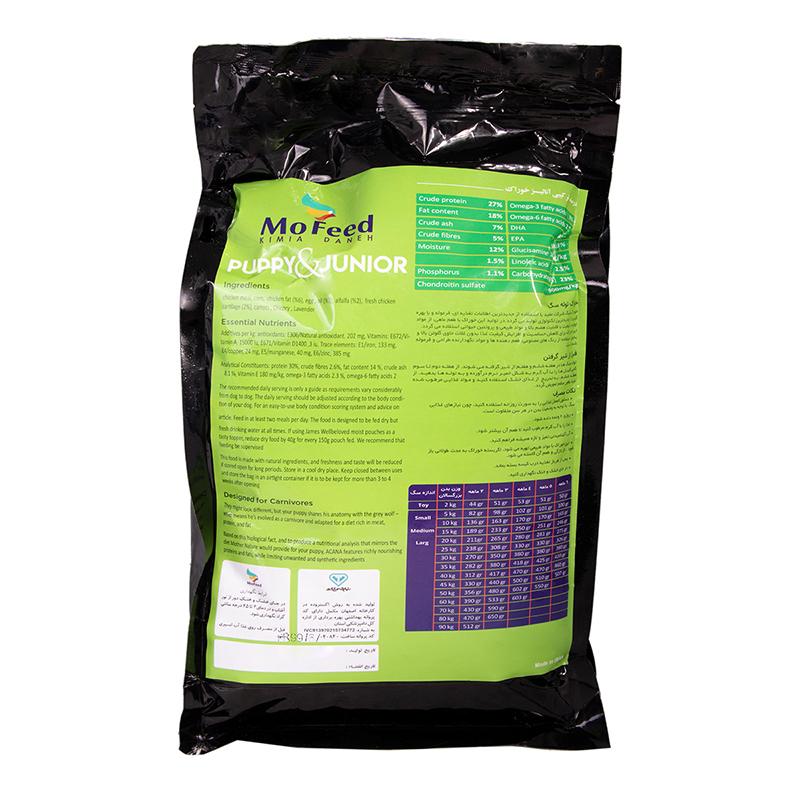عکس پشت بسته بندی غذای خشک سگ مفید مدل Puppy & Junior وزن 2 کیلوگرم