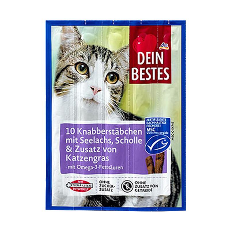 عکس بسته بندی اسنک تشویقی گربه دین بستس مدل Salmon بسته 5 عددی