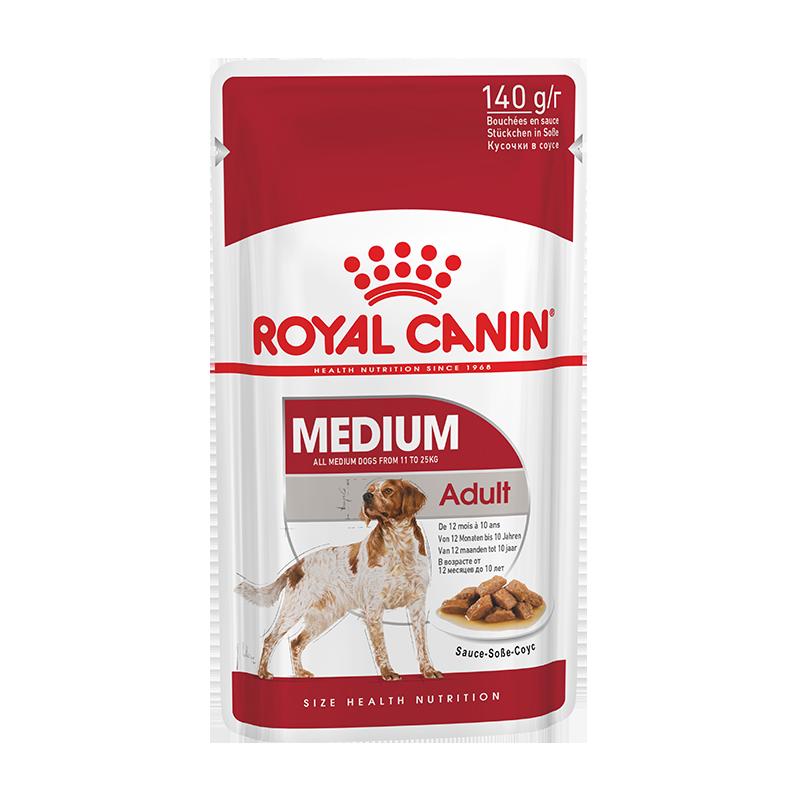 عکس بسته بندی پوچ سگ رویال کنین مدل Medium Adult وزن 140 گرم