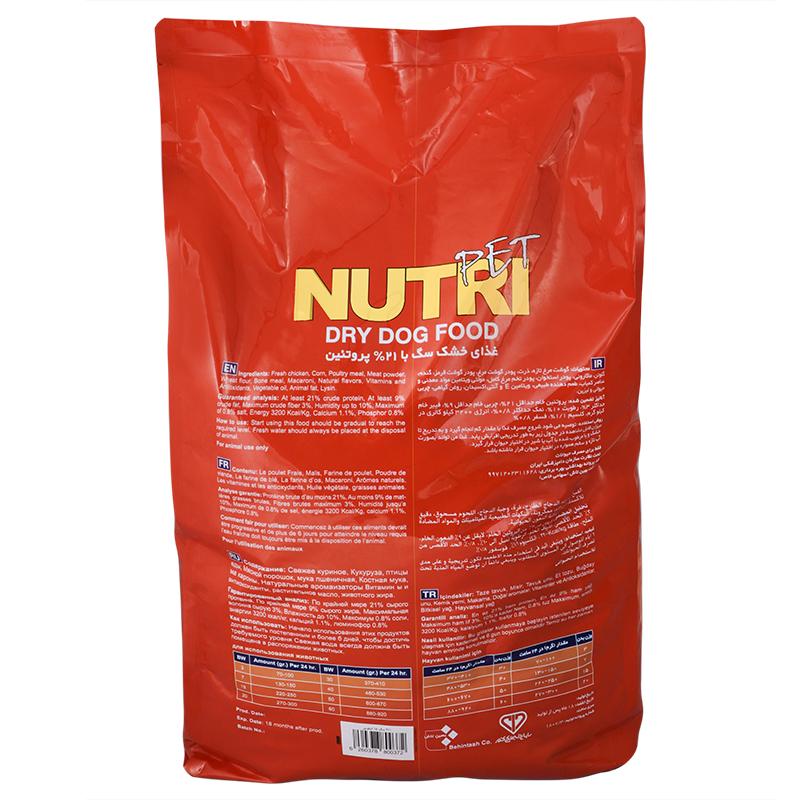 عکس پشت بسته بندی غذای خشک سگ نوتری مدل Adult 21 وزن 15 کیلوگرم