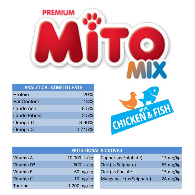 عکس اطلاعات غذای خشک گربه میتو میکس مدل Adult Chicken and Fish وزن 1 کیلوگرم