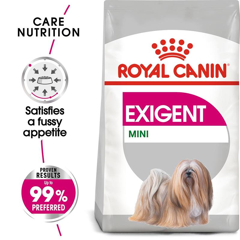 عکس جزییات غذای خشک سگ رویال کنین مدل Mini Exigent وزن 1 کیلوگرم